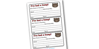 Pupil Bump First Aid Notes - bump, I've had a bump, accident, little, injury, bump information,  pupil information, pupils, poster, sign, sheet, display