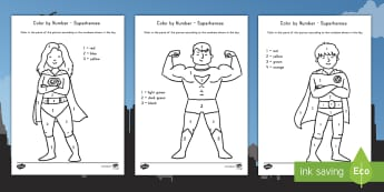 Superheroes Color by Number Activity - color, superhero, activity, color by number, number recognition