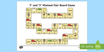 f and v Minimal Pair Board Game