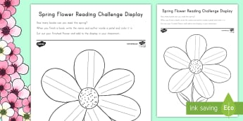 Spring Flower Reading Challenge Display Cut-Outs - Spring, First Day of Spring, display, bulletin board, flower, reading challenge, reading, books