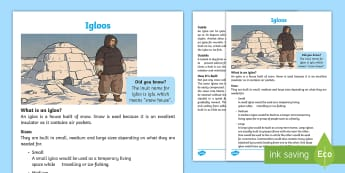 Igloo Fact File - Canada's Arctic, Nunavut, Inuit people, igloo, snow, shelter, snow home, snow hut.