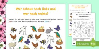 Wer schaut nach links und wer nach rechts? Arbeitsblatt - links, rechts, Tiere, Frühling, Jahreszeiten, left, right, directions, spring, seasons,German