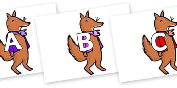 A-Z Alphabet on Small Fox 2 to Support Teaching on Fantastic Mr Fox - A-Z, A4, display, Alphabet frieze, Display letters, Letter posters, A-Z letters, Alphabet flashcards
