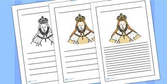 Elizabeth I Writing Frame - elizabeth I, elizabeth 1st, writing frame, writing template, writing guide, writing aid, line guide, writing guide, themed aid