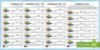 Counting in Tens Activity Sheets - year 2, maths, place value, homework, counting in tens, Worksheets