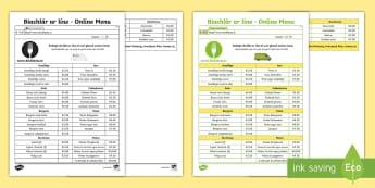 Biachlár ar líne - Online Menu Reading and Questions Worksheet / Activity Sheet - worksheet, Biachlar, Bia, Bialann, ag, ordú, ar, Líne, Irish
