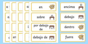 Tarjetas de vocabulario Preposiciones de lugar - posición, posicional, donde
