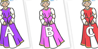 A-Z Alphabet on Queens - A-Z, A4, display, Alphabet frieze, Display letters, Letter posters, A-Z letters, Alphabet flashcards