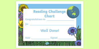 Reading Challenge Chart Certificate Environment Themed - awards, record, celebrate, celebration, early years, ks1, ks2, target, challange, certficates, certifcates, cerificates, cetificates, cirtificates, nature, environment, eco