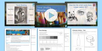 Formal Elements - Tone Lesson Pack - Secondary, Art, Art & Design, Year Seven, Year 7, Formal Elements, Line, Tone, Colour, Shape, Form,