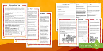 Chinese New Year Differentiated Reading Comprehension Activity English/Hindi - Chinese new year, celebration, tradition, festival, red colour, dragon, year, fire crackers