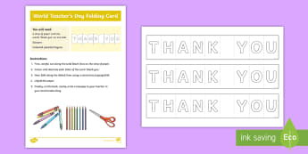 World Teachers' Day Folding Thank You Gift Card Template - World Teachers' Day, Activities, Appreciation, Craft, Card, Thank-you,Australia
