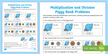 Scaling Numbers: What's in the Piggy Bank? Activity Sheet - Learning from Home Maths Workbooks, word problems, money problems, real life problems, Solve problem