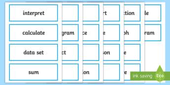UKS2 Statistics Key Word Cards - maths vocabulary, maths vocab, key vocabulary, topic words, maths words, handling data, interpreting