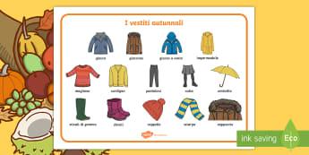 I vestiti autunnali Vocabolario Illustrato - ombrello, vestiti, autunno, autunnali, vocaboli, immagini, materiale, scolastico, italiano, italian