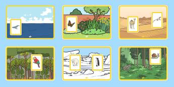 Animalele și habitatele lor Activitate - animale sălbatice, animale salbatice, animale domestice, habitat, habitatul, jocuri, activități,R