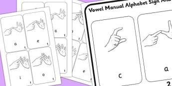 British Sign Language Vowel Manual Alphabet Sign And Flip Mat