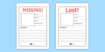 Missing! Lost Pet Writing Frames  Lost Pet Template