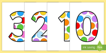 Multicolored Polka Dot Display Numbers - numbers, multicolored, display, decor, polka dots