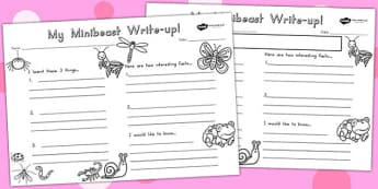 Minibeasts Cute Write Up Worksheet - writing aid, writing, animal