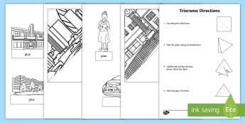 City Landscape Triarama Activity Sheet - urban, built features, manmade, constructed features, ACSSU019, diorama, worksheet, Australia