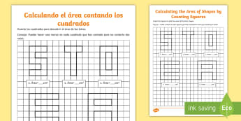 Calculate Area by Counting Squares Activity Sheet English/Spanish - square centimetres, rectilinear shapes, area of letters, alphabet maths, ESL, EAL