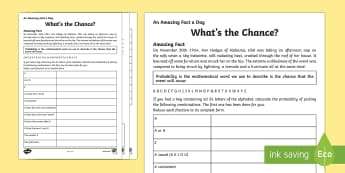 Whats The Chance? Worksheet / Activity Sheet