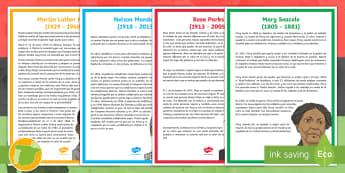 Pósters: Información sobre personajes históricos - Historia de la cultura negra - EEUU, estados unidos, sudáfrica, áfrica, mandela, rosa parks,