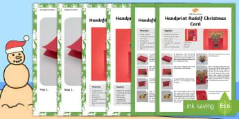 Handprint Rudolf Christmas Card Craft Instructions English/Afrikaans - December, celebrate, make, create, reindeer, takbok, kuns, EAL