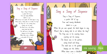 Sing a Song of Sixpence Display Poster - NZ Literacy Resources, nursery rhymes, Years 1-3, New Zealand, poems,