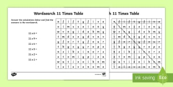 Multiplication 11 Times Tables Wordsearch Worksheet - multiplication, 11 times tables, wordsearch, worksheet, times tables, times, tables, maths, numeracy