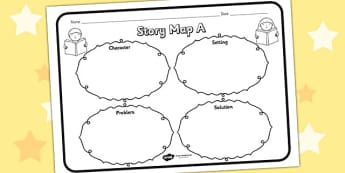 Story Map A Worksheet - story map A, story, stories, story map, story map worksheet, map stories, story worksheets, worksheets, literacy, english, reading