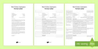 Formal Letter Exemplar Resource Pack - General Secondary English Resources, non-fiction texts, exemplars, formal letter.