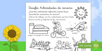 Ficha de actividad: Desafío de las vacaciones de verano - verano, vacaciones, desafío, actividades, inspiración, motivación, veraniegas, colorear, pintar,
