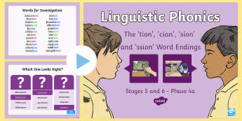 Northern Ireland Linguistic Phonics Stage 5 and 6, Phase 4a, 'tion', 'cian', 'sion', 'ssion' Word Endings PowerPoint  - NI, Irish, Sound Search, Word Sort, Investigation, Phoneme, Grapheme, Letter,