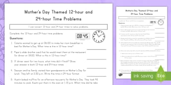 Mother's Day Themed 12 Hour and 24 Hour Time Problems Activity Sheet - Mother's Day, math, time, 12 hour, 24 hour, clock, worksheet