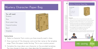 Mystery Character Paper Bag Craft - Character Analysis, Project, book report, RL3.3, R.L.3.3, reading response, literature circle