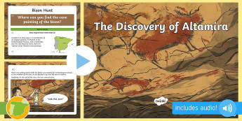 Altamira Cave Paintings English Audio PowerPoint - Social Sciences, cueva, pinturas, English, dibujos,