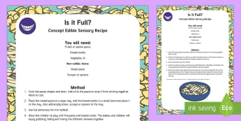 Is It Full? Concept Edible Sensory Recipe - Shape space and measure, baby, babies, food, tactile, taste safe