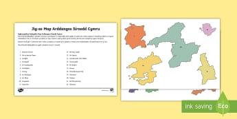 Map Arddangos Siroedd Cymru - Lleoliad, gwlad, country, location, Cennin Pedr, cennin, daffodil, leek, Cymru, Wales, Welsh, Cymrae