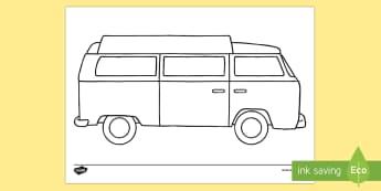 Doodle Draft Hippy Van Activity Sheet - ROI, Ireland, doodle, draft, sketch, starter, creative, drawing, art, activity sheet,Irish, workshee