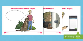 The Dual World of Anders Arnfield Speech and Thought Bubbles Activity Sheets - adventure, fantasy, dreams, characters, feelings, inference, story, originals, worksheets