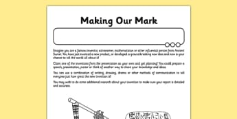 Ancient Sumer Making our Mark Worksheet / Activity Sheet - ancient sumer, making our mark, worksheet / activity sheet, activity, sheet, sumer, sumerian, worksheet