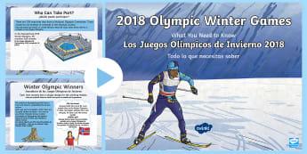KS2 Winter Olympics 2018 Information PowerPoint English/Spanish - EAL,Pyeongchang, south korea, sport, international, competition, bobsleigh, curling, ice hockey, lug