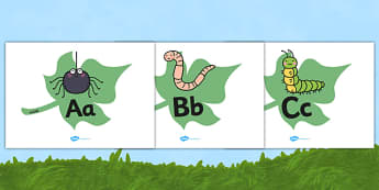 A-Z Alphabet on Minibeasts - Alphabet frieze, Display letters, Letter posters, A-Z letters, Alphabet flashcards, Minibeasts, minibeast investigation, minibeast display, Minibeasts, Topic, Foundation stage, knowledge and understanding of the world, in