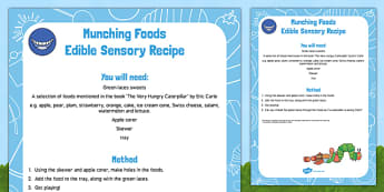 Munching Foods Edible Sensory Recipe to Support Teaching on The Very Hungry Caterpillar - Eric Carle, fruit