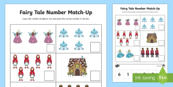 Fairy Tale Number Match-Up Activity Sheet - Cutting Skills, Number Recognition, one-to-one correspondence, Math, Fairy Tale Unit, worksheet
