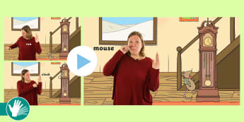 BSL Sign Supported Hickory Dickory Dock Nursery Rhyme Video - baby sign, babysign, baby sign language, signed nursery rhyme, signed song, bsl song, bsl nursery rh