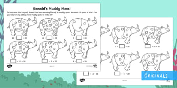 Ronald the Rhino's Muddy Mess Number Bonds to 20 Activity - Children's Books, Ronald the Rhino, children's book, friend, friendship, number, number bond, pair