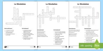Mots croisés différenciés : La Révolution - La Révolution, cycle 2,  KS2,The French Revolution, Bastille Day, Bastille, Prise de la Bastille, 1